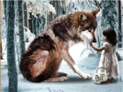 TianMai Hot New DIY 5D Diamond Painting Kit Crystals Diamond Embroidery Rhinestone Painting Pasted Paint By Number Kits Stitch Craft Kit Home Decor Wall Sticker - Girl and Wolf, 30x40cm