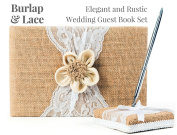 Rustic Wedding Guest Book Made of Burlap and Lace - Includes Burlap Pen Holder and Silver Pen - 120 Lined Pages for Guest Thoughts - Comes in Gift Box
