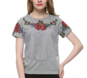 Yukong Blouse New Fashion Women Tassel Floral Print T shirt Vintage Red Rose Tops