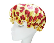 Dsstyles Women Waterproof Shower Cap Double Layer Bath Cap Cute Bath Hat with Butterfly Pattern - Yellow