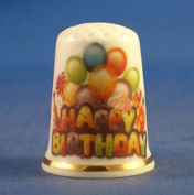 Porcelain China Collectable Thimble - Happy Birthday -- Free Gift Box