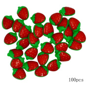 Monique 100 PCS Lovely Strawberry Plastic Buttons Sewing Fasteners Buttons Arts Decoration Buttons