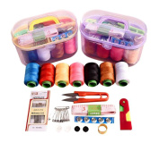 1 Box of 46 Pcs Portable Multi-function Sewing Combination Sewing Box Set - Tool Sewing Kit Storage Box Including the Needle/Line/Scissors/Tape Measure/Threader/Pin/Buttons/Thimble