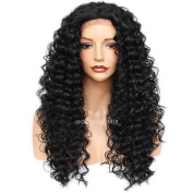 Goddess 8A Long Curly Synthetic Wigs For Women Heat Resistant Curly Lace Front Wigs 180 Density