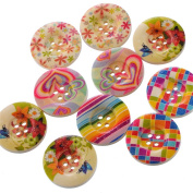 50PCs 4 Holes Mixed Pattern Wood Sewing Buttons Scrapbooking 25mm