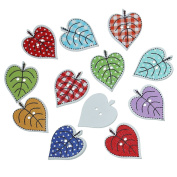 100PCs 2 Holes Leaves Wood Sewing Buttons Scrapbooking for Sweater Overcoat Clothing 24x19mm