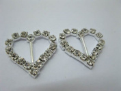 Rhinestone Heart Ribbon Buckle Slider Wedding Invitation Pack of 50Pcs