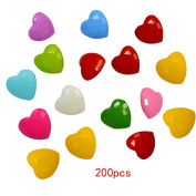 200 PCS Nylon Cute Peach Heart Shape Children Sweater Buttons For Sewing Fasteners Scrapbooking DIY Handmade Craft With Different Colours