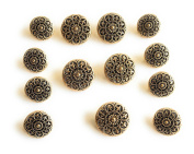 Antique Gold Flower Fashion Buttons SET for Dress and Suits 11pc.
