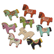 100PCs 2 Holes Cute Horse Craft Wood Sewing Buttons Scrapbooking 3x2.5cm