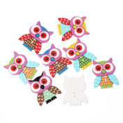 50PCs 2 Holes Owl Pattern Wood Sewing Buttons Scrapbooking 3.5x2.8cm