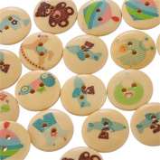 100PCs 2 Holes Baby Care Pattern Wood Sewing Buttons Scrapbooking 18mm