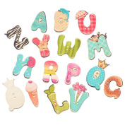 50PCs 2 Holes alphabet Wood Sewing Buttons Scrapbooking Buttons Sewing Accessories