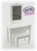 Matty's Toy Stop White Wooden Doll Furniture Doll Vanity with Bench and Pull Out Drawer for 46cm Dolls