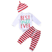 Newborn Baby Outfits,Long Sleeve Bodysuit and Striped Pants Jumpsuit With Hat