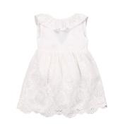 Tangbasi Bowknot Backless Sleeveless Cotton Dress Princess Dress White Wedding Dress