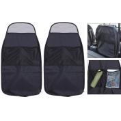 Gemini_mall® Kick Mats x2 - Car Seat Upholstery Protector - Organiser Pockets - Universal size - Heavy Duty Kick and Stain Protection