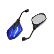 DealMux 2Pcs Black Blue Adjustable Rearview Blind Spot Mirrors for Motorcycle Motorbike