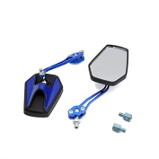 DealMux Pair Blue Adjustable Hexagon Rear Side View Mirror for Motorcycle Motorbike