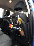 Kid Transit PRO 31cm Car Organiser Tablet and IPad Holder for Back Seats - Touch Screen Compatible – Organiser and Car Tidy for Children - 5 Storage Pockets of Kids Things - Doubles as Kick Mat and Seat Cover Protector - UK Brand