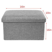 """Storage Ottoman Polyester Folding Stool,Foot Rest Seat,Clutter Toys Collection 41cm x 25cm x 10"""""""