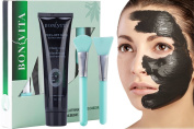 Blackhead Remover Mask, Anti-wrinkle Peel Off Black Mask, BONVITA Bamboo Charcoal Peel Off Mask and Brush Kit for Women & Men for Face Nose Acne Treatment Oil Control