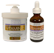 Advanced Clinicals Vitamin C Skin Care set for face and body. Spa Size 470ml Vitamin C cream and Vitamin C face serum for dark spots, age spots, uneven skin tone in as little as 4 weeks!