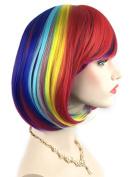 Rose Net Rainbow Bob Wigs - Women's Short Straight Cosplay Wigs (Multi Colour) 007A