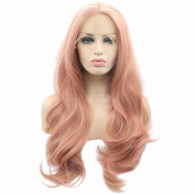 eNilecor Pink Lace Front Wigs,Long Curly Synthetic Wig Full Lace Wig Hair Replacement Wigs for Women 60cm with Wig Cap and Comb