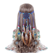 Hippie Headband Feather Dreamcatcher Headdress - AWAYTR New Fashion Boho Headwear Native American Headpiece Hippie Clothes Peacock Feather Hair Accessories