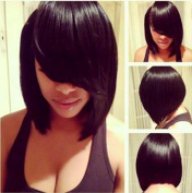 Synthetic Short Wigs for Black Women Straight Bob Hairstyle Black Natural Wig Heat Resistant Female Cheap Fake Hair Z067BK