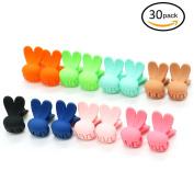 HUELE 30pcs Girls Rabbit ears Shaped Mini Hair Claws Hair Bangs Hair Pin For Little Girls Mix Coloured
