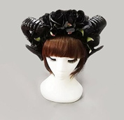 Vintage Victorian Black Roses Sheep Horns Headband Party Night Fancy Dress Lace Veil Hair Accessory Punk Cosplay