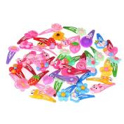 SHERUI Bbay Hair Clips 30pcs Mix Colour Flower Cartoon Beads Candy Colour Hair Clips Girls' Kids BB Hairpins