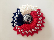 Kanzashi fabric flower hair pin. Red, blue and milky white. Japanese hair clip. Kanzashi Handmade hair flower.