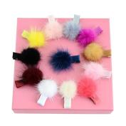 Lulujan Rainbow Fur Ball Pompom Hair Clips Set Mini Alligator Hair Pins Hair Barrettes