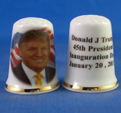 Porcelain China Collectable Thimble - Donald Trump Inauguration Day 2017 -- Free Gift Box