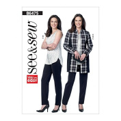 Butterick See & Sew Ladies Easy Sewing Pattern 6475 Contrast Jacket, Top & Tapered Pants