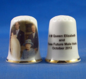 Porcelain China Collectable Thimble - H M Queen & Three Generations Male Heirs - Free Gift Box