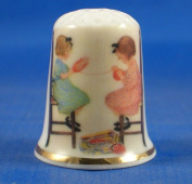 Porcelain China Collectable Thimble - Winding up Knitting Wool - Free Gift Box