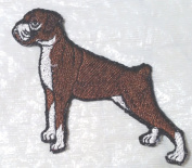 Custom and Unique (7.6cm x 6.4cm Inch) Animal Kingdom Fully Standing Canine Boxer Dog Iron On Embroidered Applique Patch {Brown, Black, & WhiteColors}