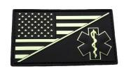 EMT USA Flag Medic Ems Paramedic Morale PVC Rubber Hook Patch