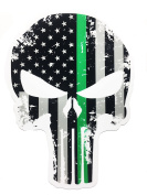 Tattered boarder patrol 13cm x 10cm Subdued Us Flag Punisher Skull Decal with Thin GREEN Line