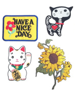 Set Patch of Iron on Patches #4, Sun Flowers Patch, Have a Nice Day Vintage patches, Cute Maneki-neko Japan Patch Cat Patch, Shock Skeleton Skull X-ray Cat Patch Embroidered Iron On / Sew On Patches