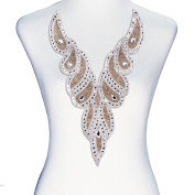 1piece V Neck Crystal Applique Hot Fix Rhinestones Beads Scrapbooking Sewing Supplies T2395