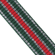 5yard 24mm Elastic Stretch Lace Ribbon Trim Tape Webbing Red Green with Silver Edge Band Strap Webbing Sewing Acessories T2403