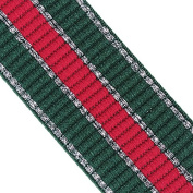 2yard 39mm Elastic Stretch Ribbon Tape Webbing Red Green with Silver Edge Trim Strap Craft Sewing Accessories T2402