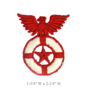 Red Star Eagle Patch Sew On White Lifesaver Vintage Thick Embroidery Applique