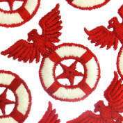 Red Star Eagle Patches Sew On White Lifesaver Vintage Thick Embroidery Appliques
