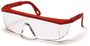 Pyramex Integra Safety Glasses - Clear Lens, Red Frame